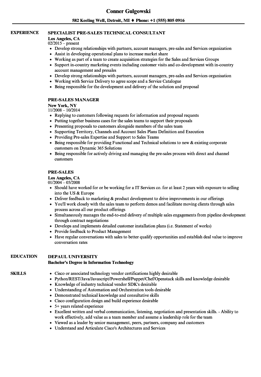 pre sales consultant resume india