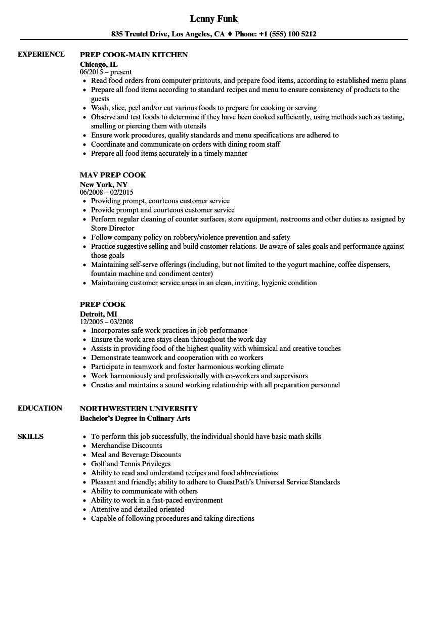 resume examples for grill cook