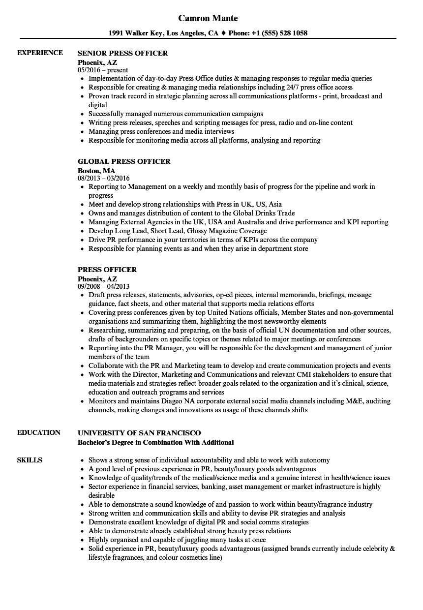 sample resume for corporate communications officer