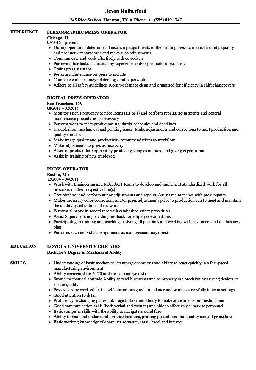 printing press operator resume sample