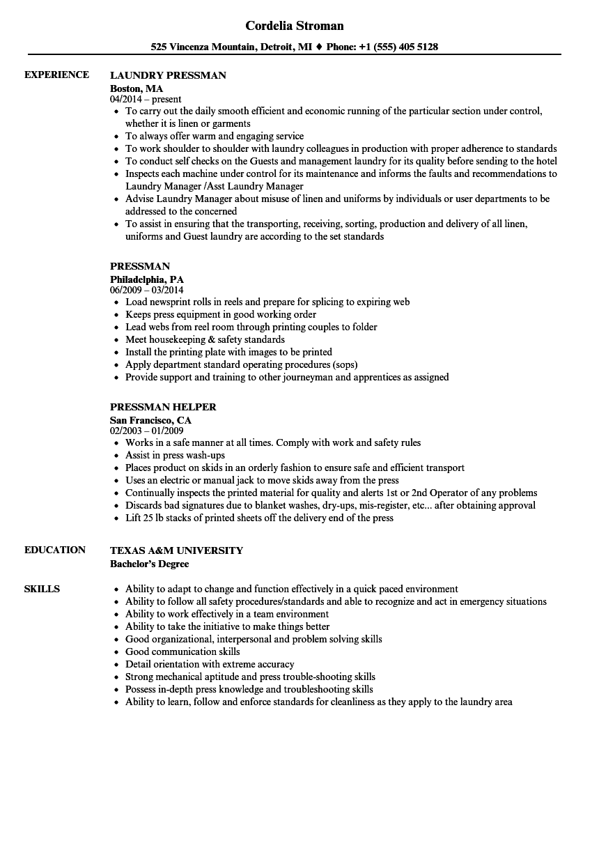 work experience resume for vendor