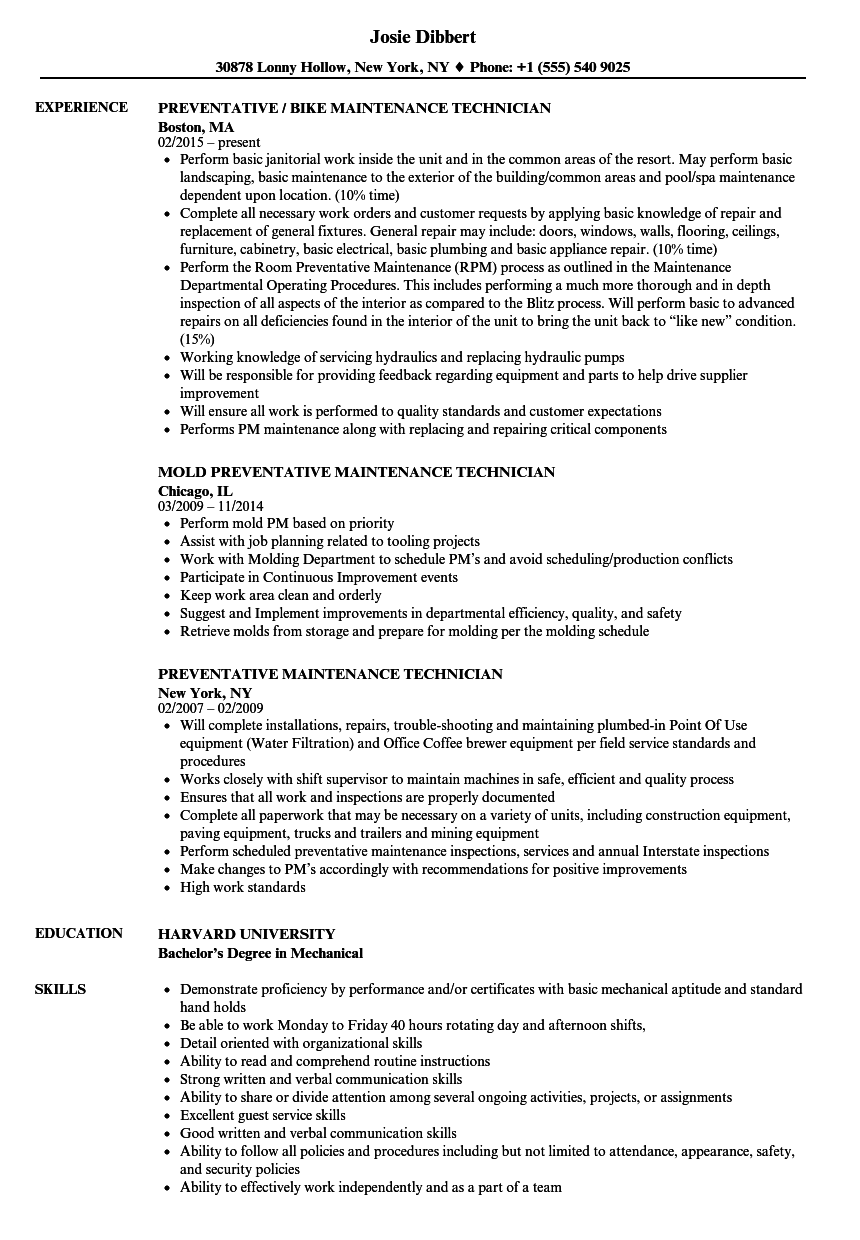 resume examples for property maintenance