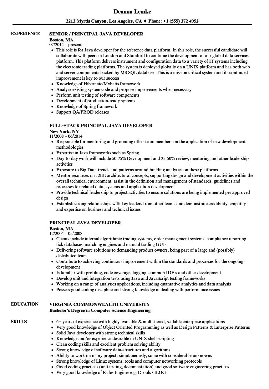 java web services resume sample