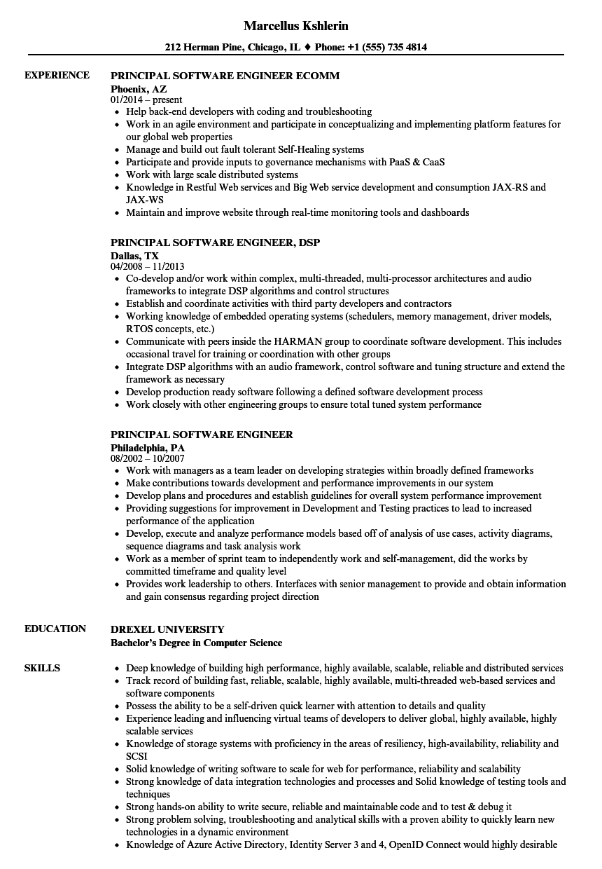 examples for software engineer resume