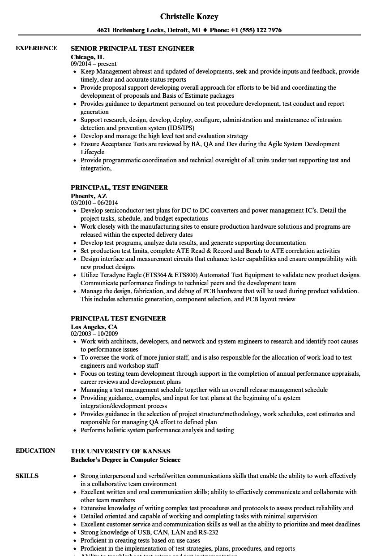 manufacturing test engineer resume sample