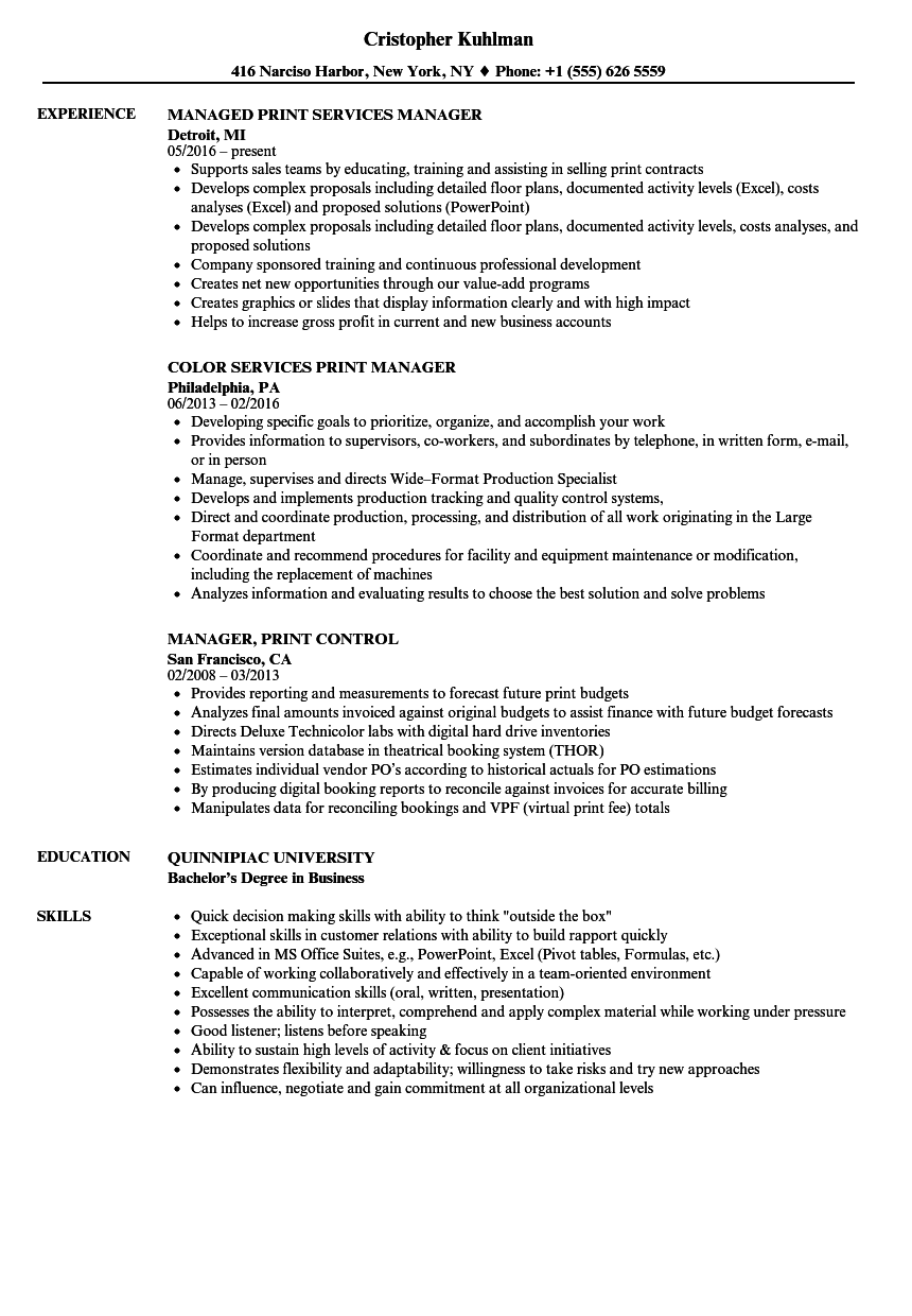 printing manager resume sample