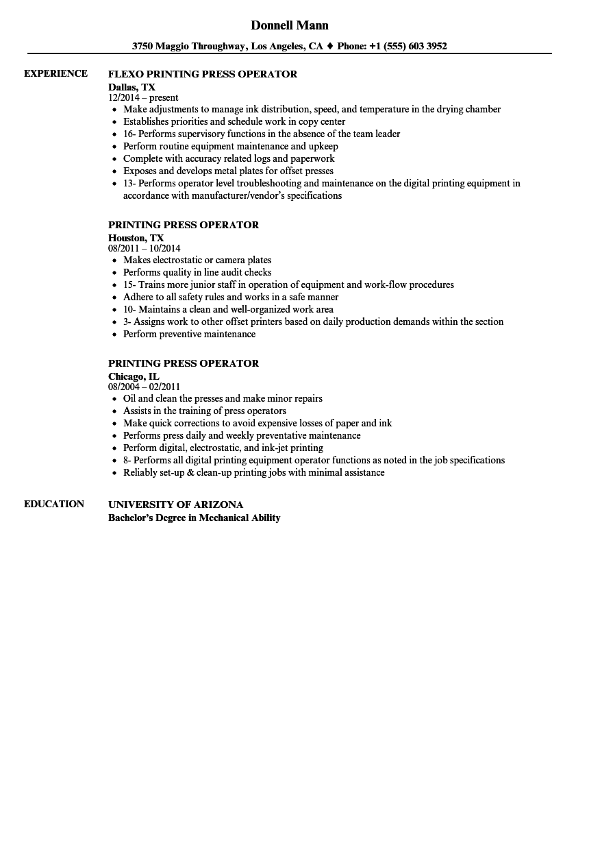 printing machine operator resume sample