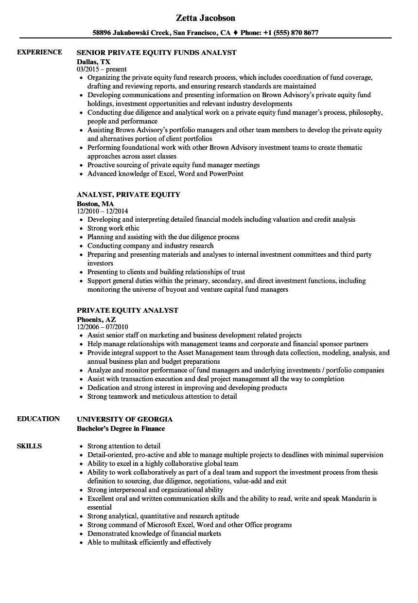 resume sample equity research analyst