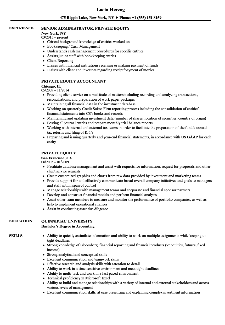 example of private equity cv
