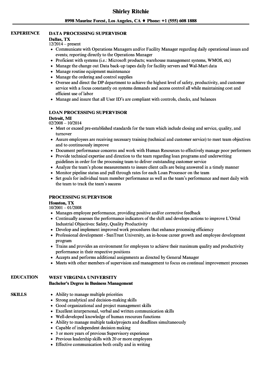sterile processing supervisor resume sample
