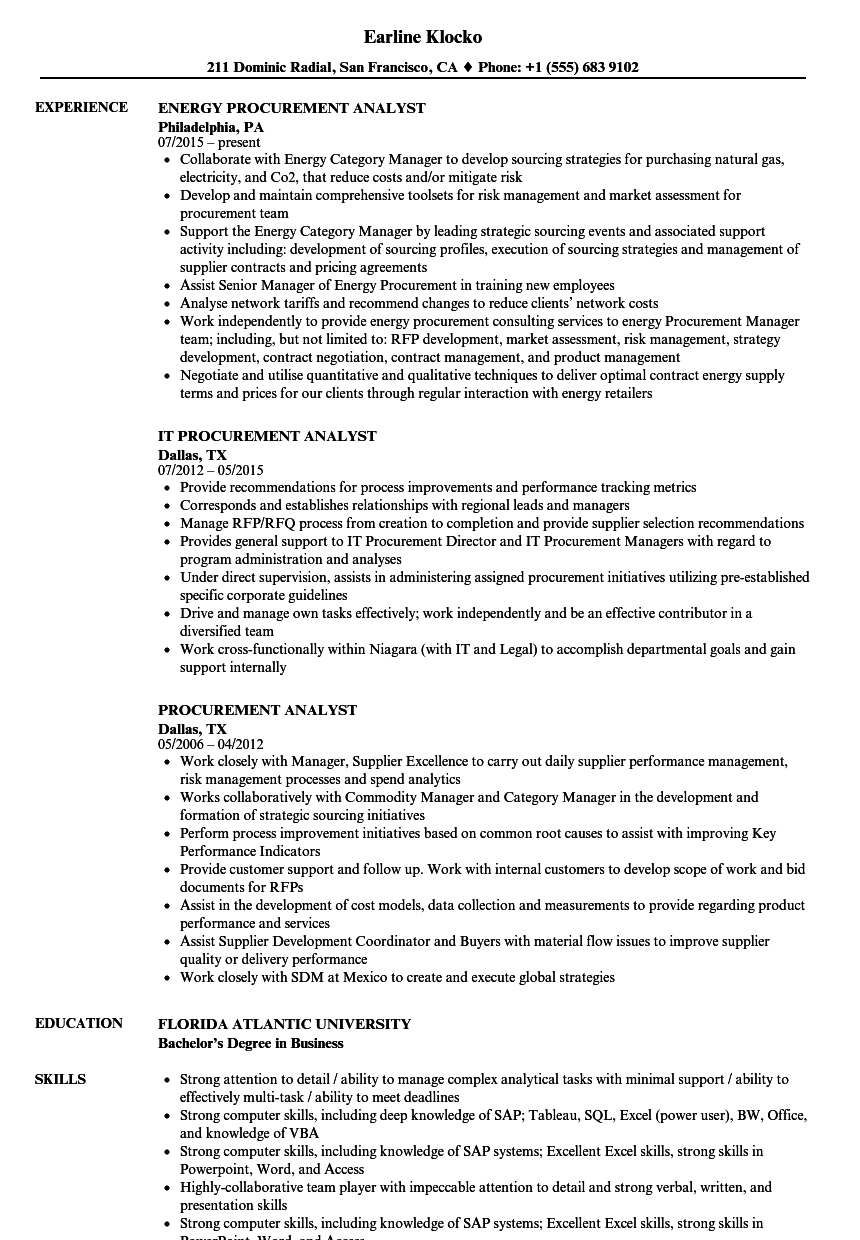 sample resume for procurement analyst