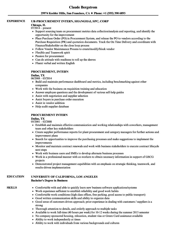 procurement associate resume sample