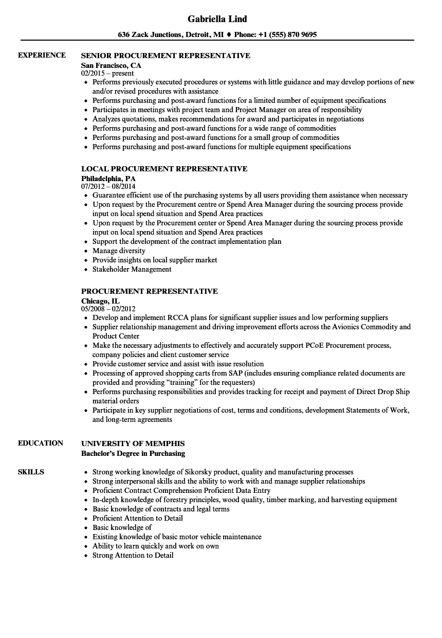 sample procurement resume