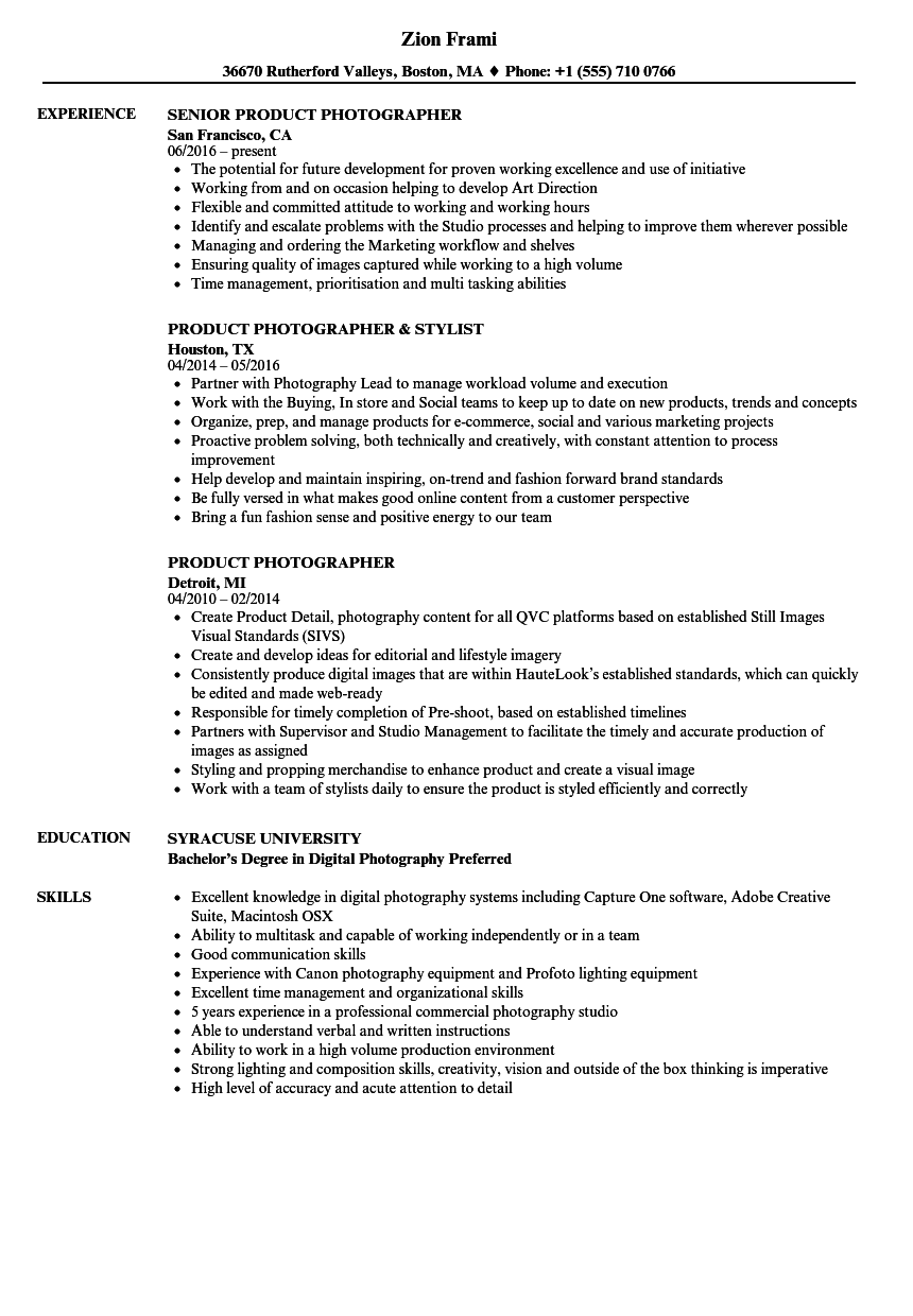 photography resume builder
