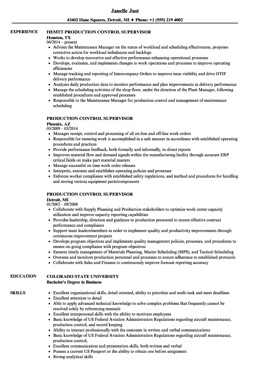 sample production control manager resume