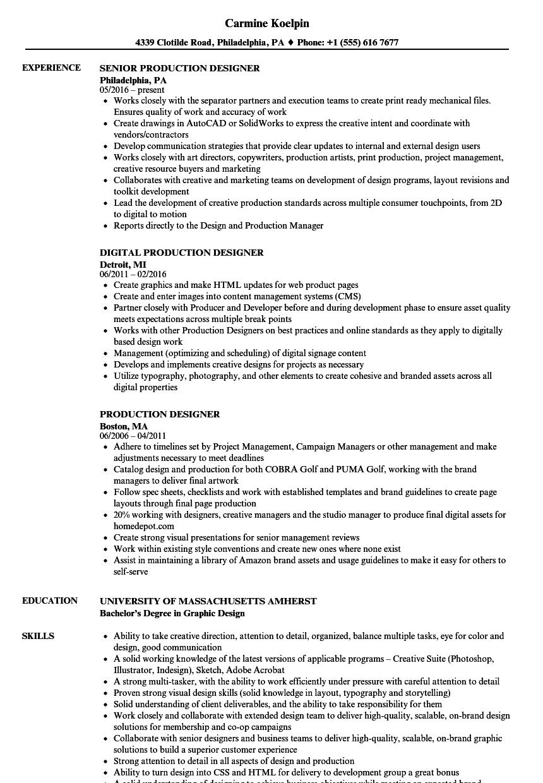 production design resume sample