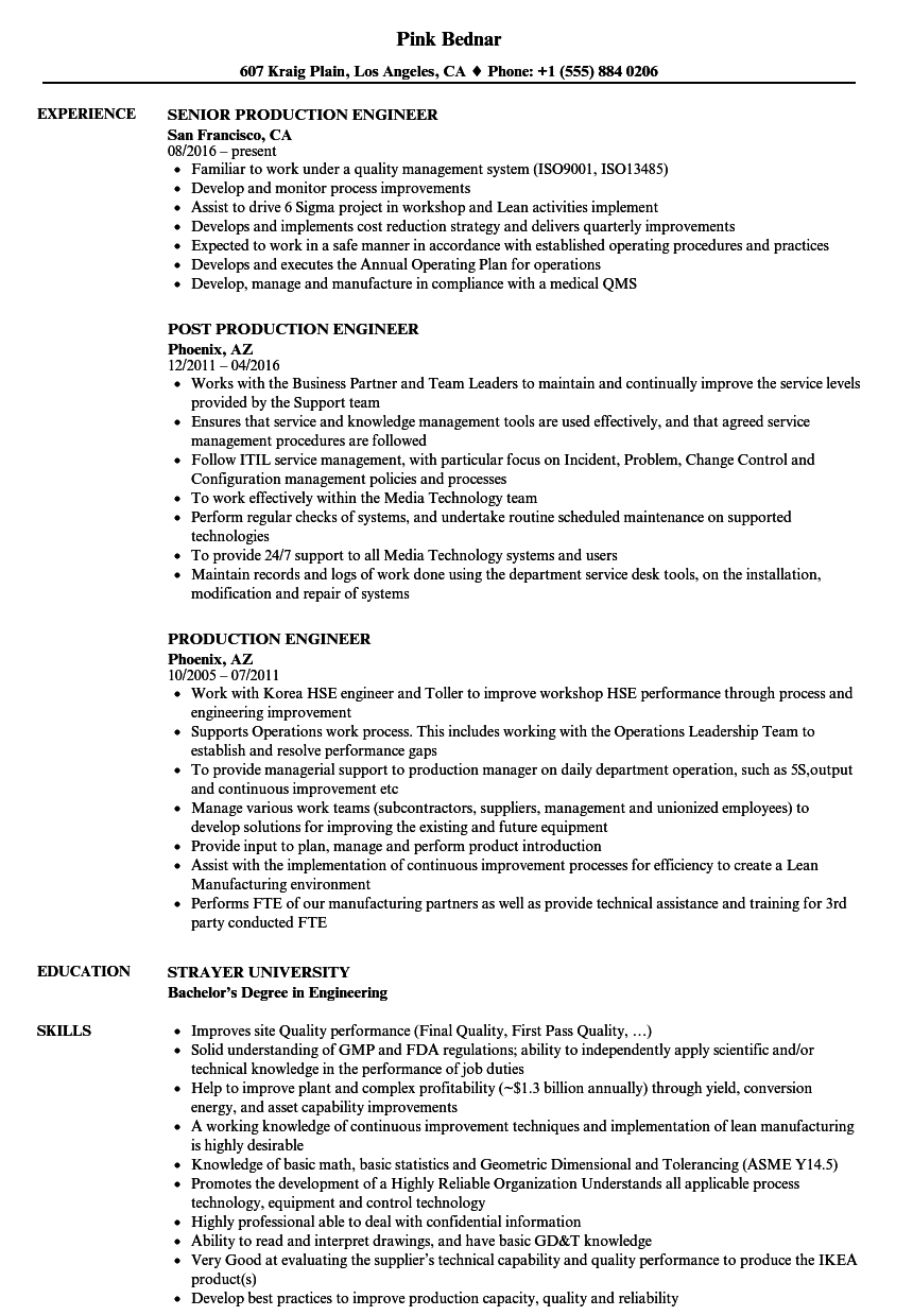 free resumes examples manufacturing engineer
