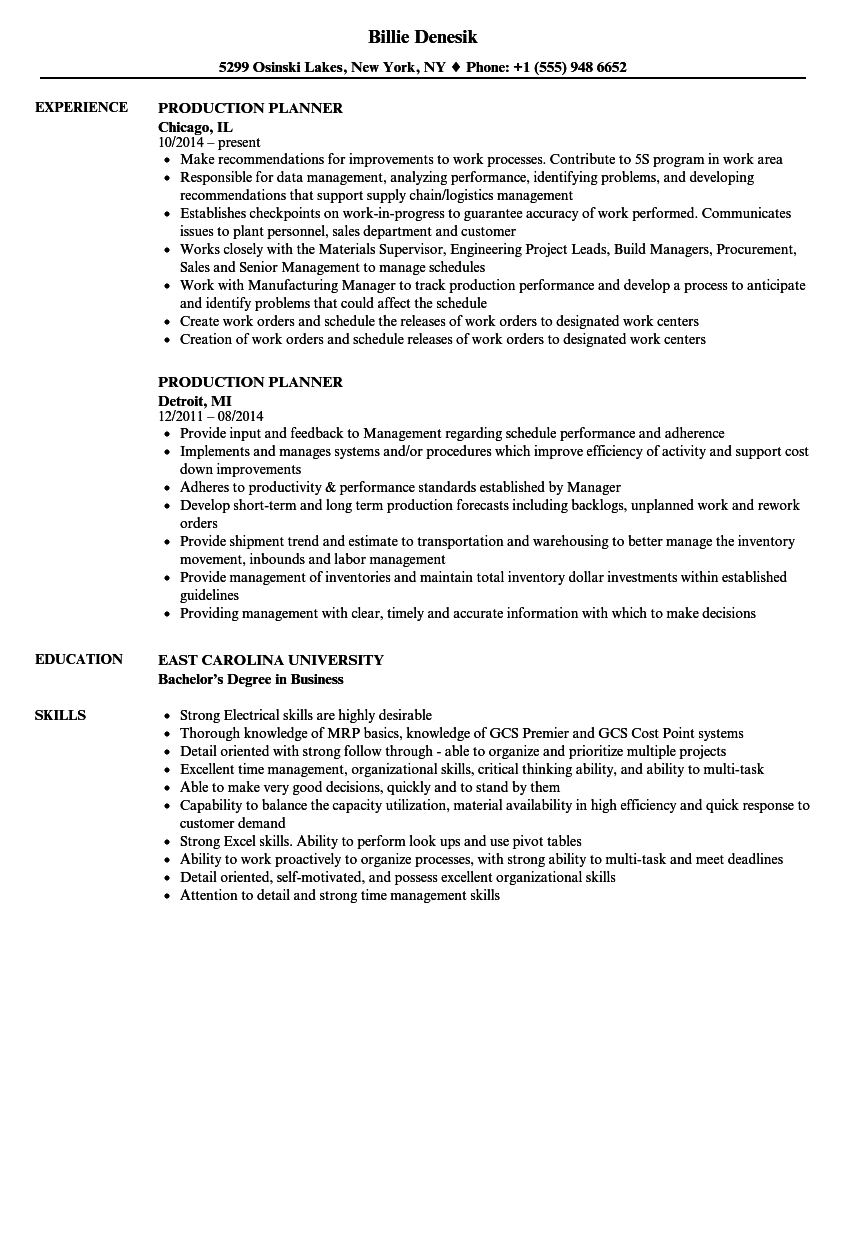 example of production planner resume