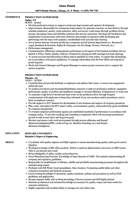 sample resume factory supervisor