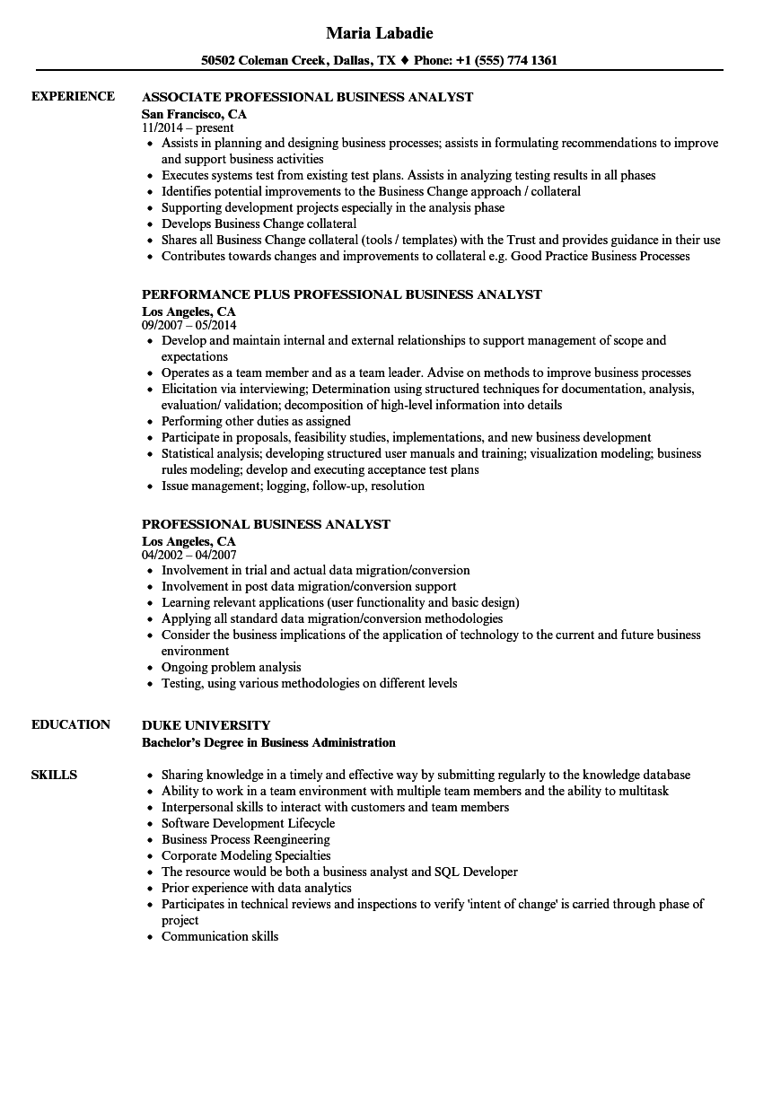 property and casualty insurance business analyst sample resume