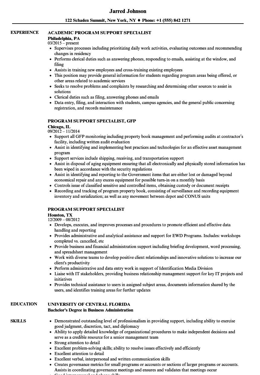 sample government jobs resume