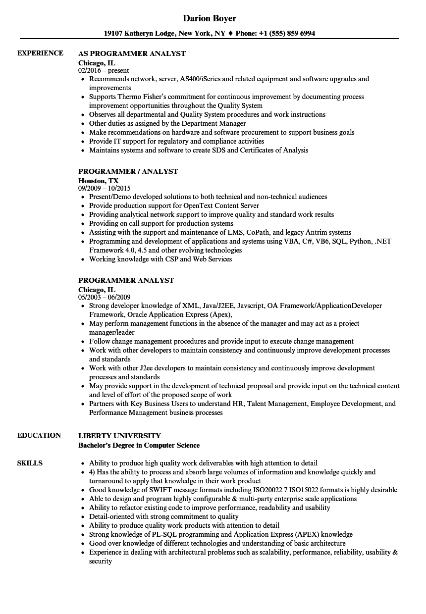 applications programmer resume