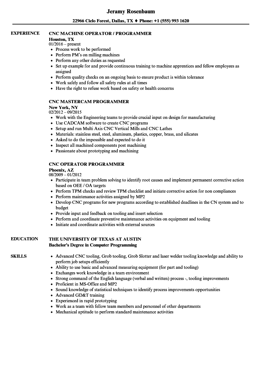 sample resume cnc maintenance engineer