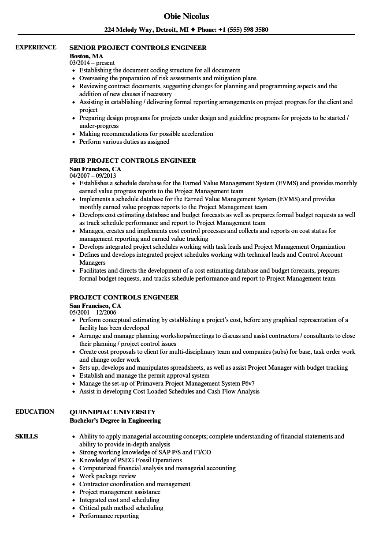 controls engineer resume