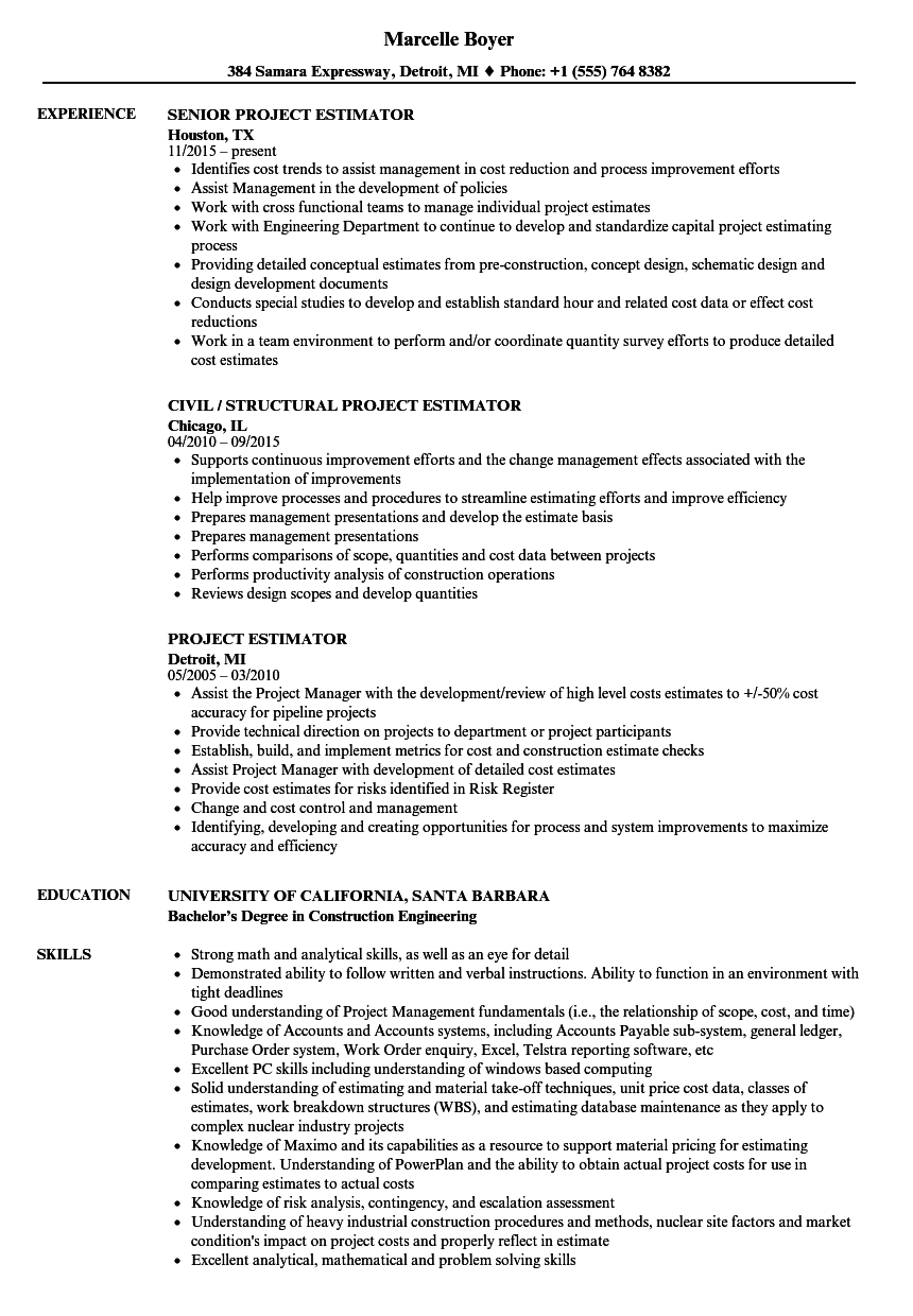 senior estimator resume example