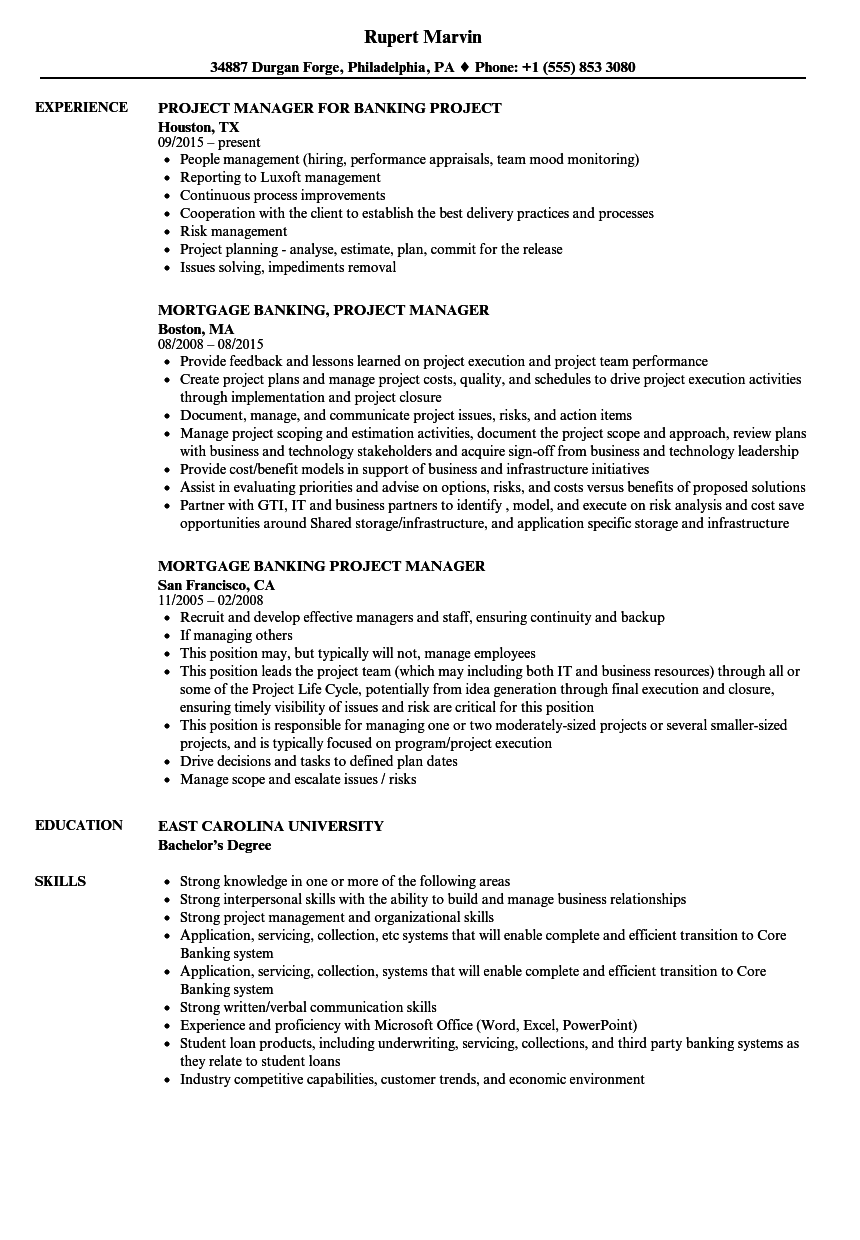 banking project manager resume sample