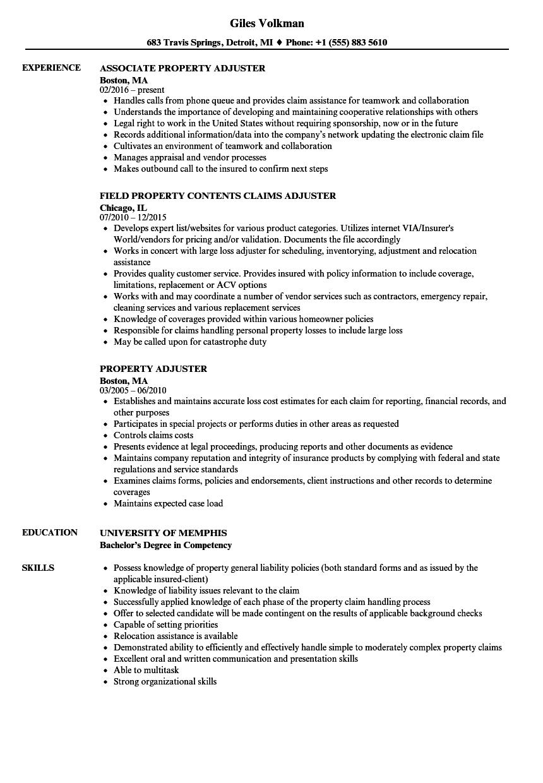 property adjuster resume sample