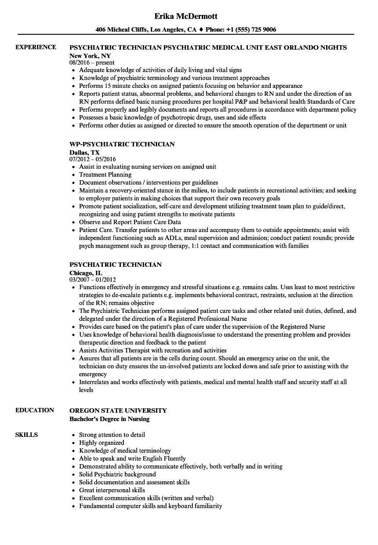 behavioral health technician resume examples