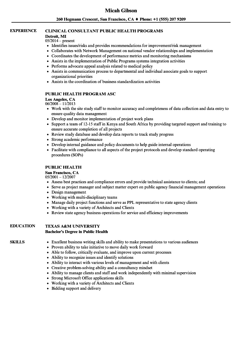 resume objective examples for public health