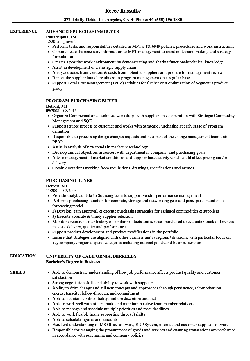 resume examples for a buyer