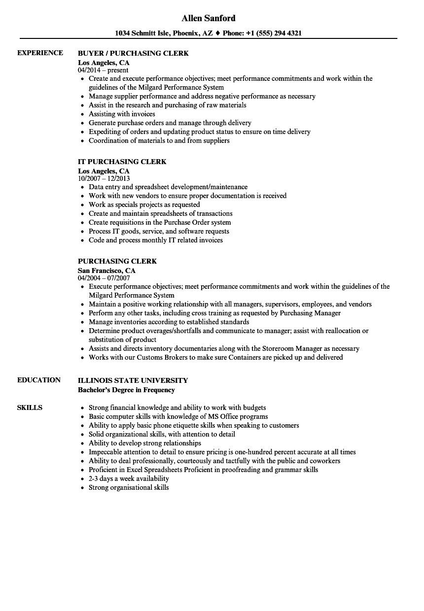 purchasing assistant resume sample