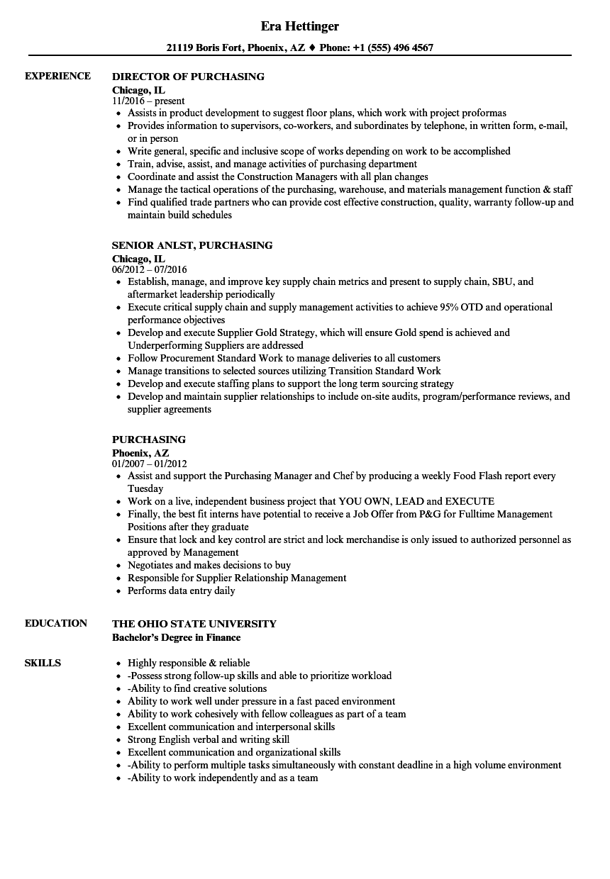 director of purchasing resume sample