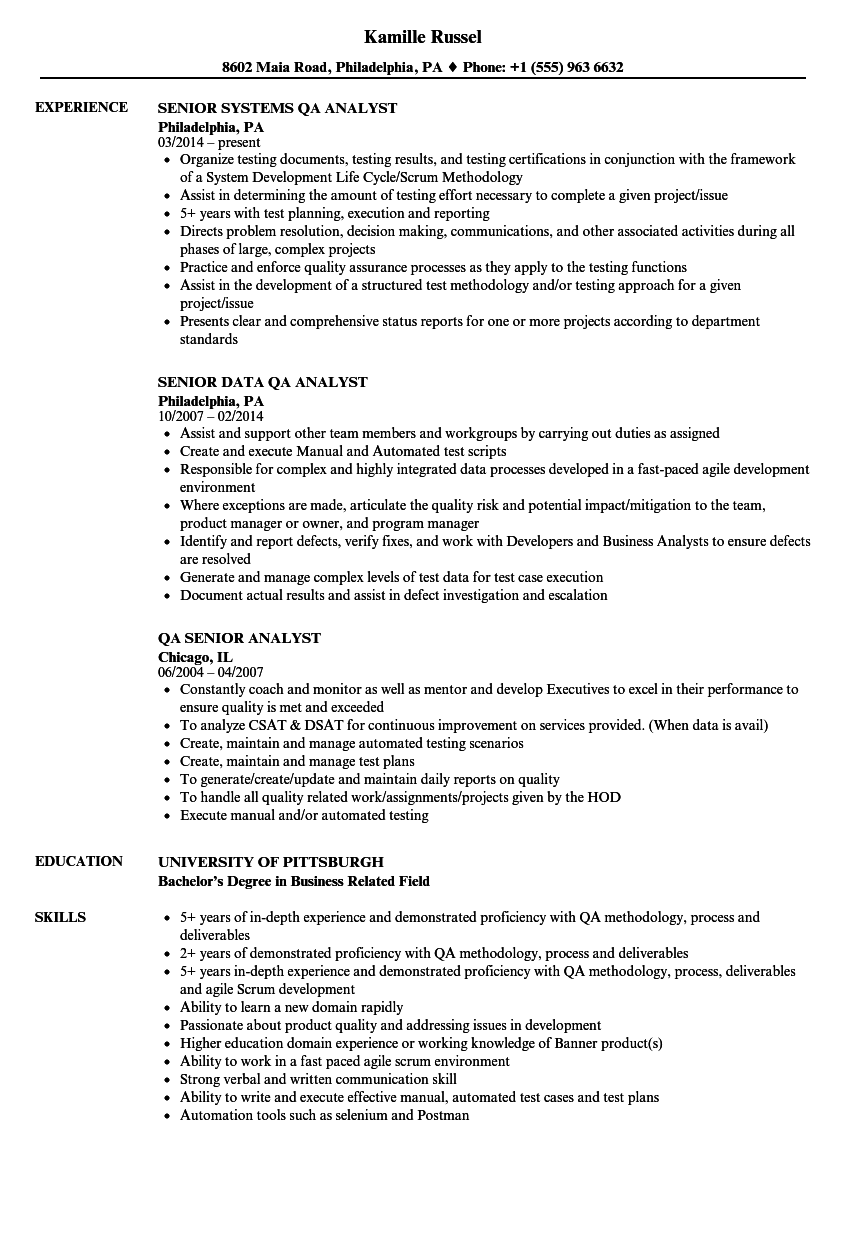 senior analyst resume sample