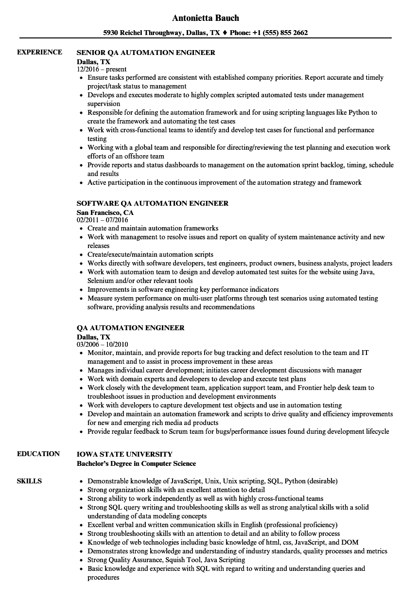 sample resume for qa automation engineer