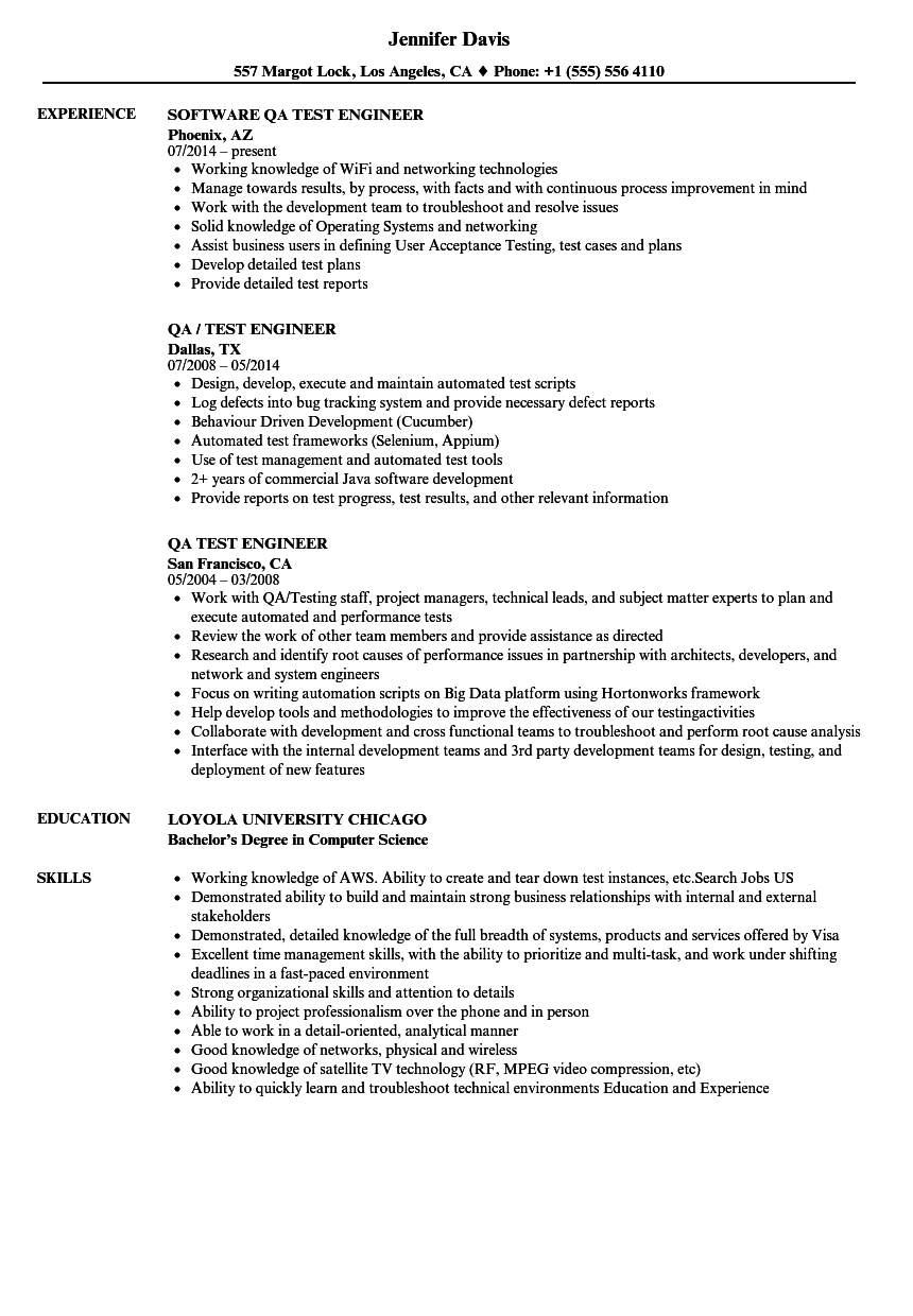 sample resume for software test engineer with 2 years experience