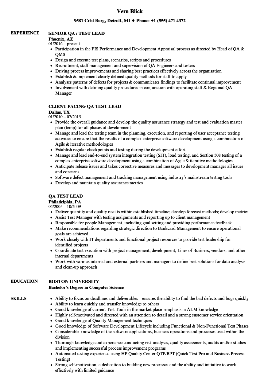 software test lead resume sample