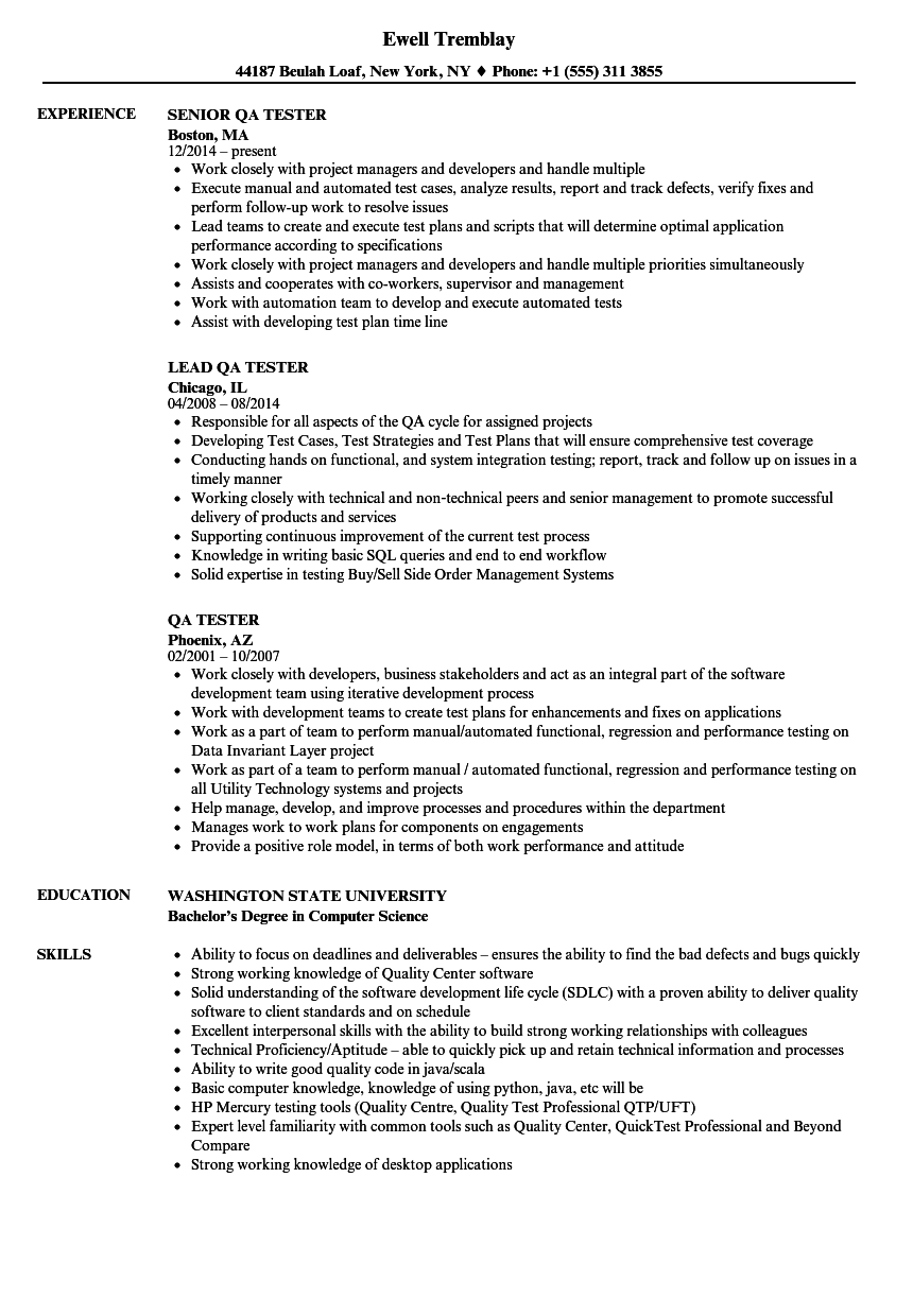 qa tester resume with sql experience