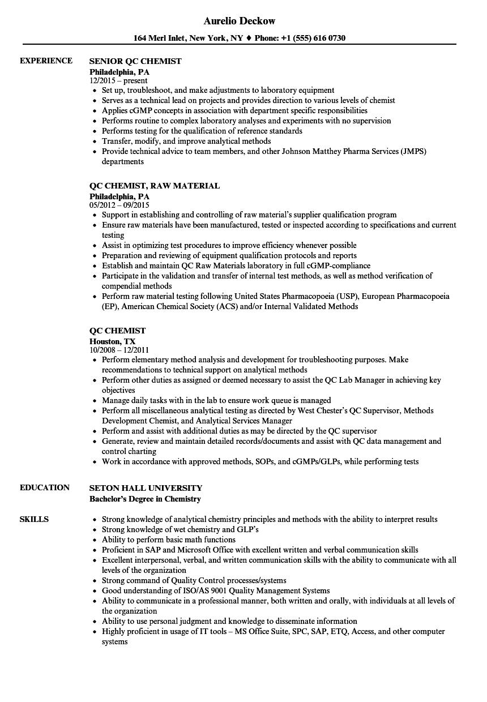 chemist resume sample