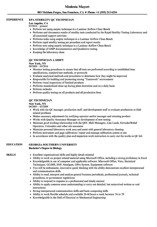 noc technician sample resume
