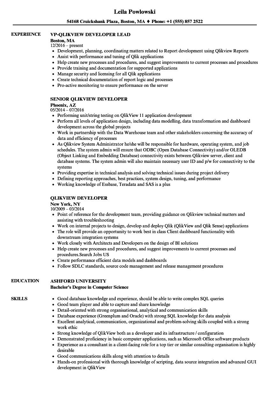 qlikview resume sample