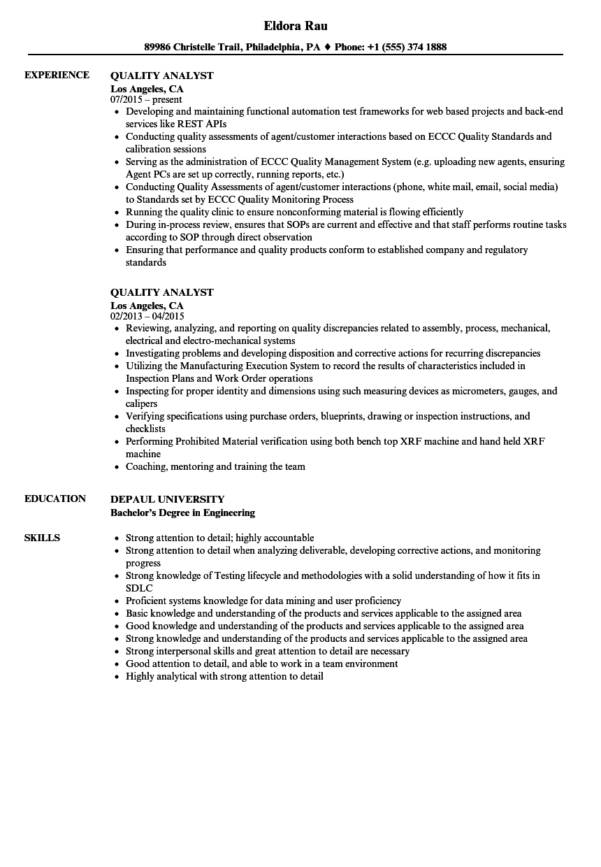 sample resume for quality control analyst
