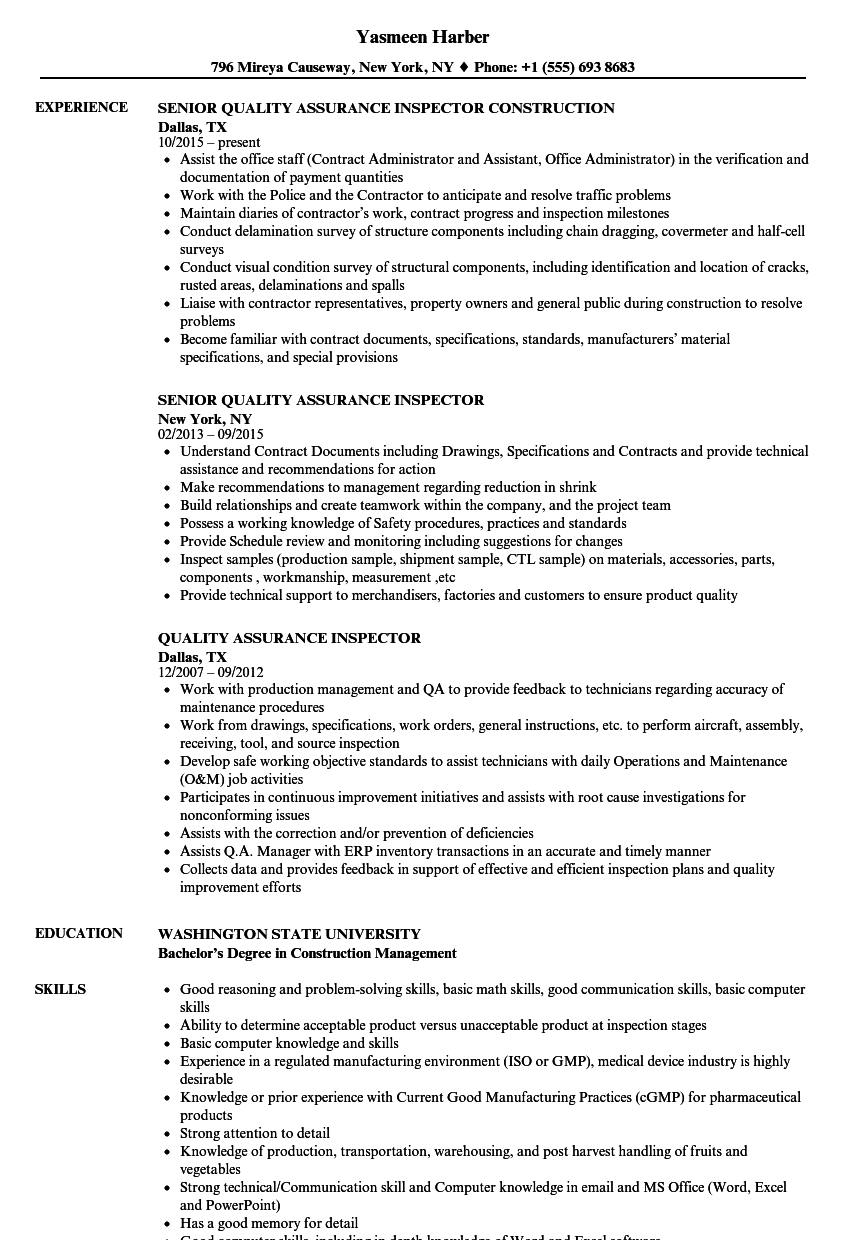 sample resume of quality control inspector