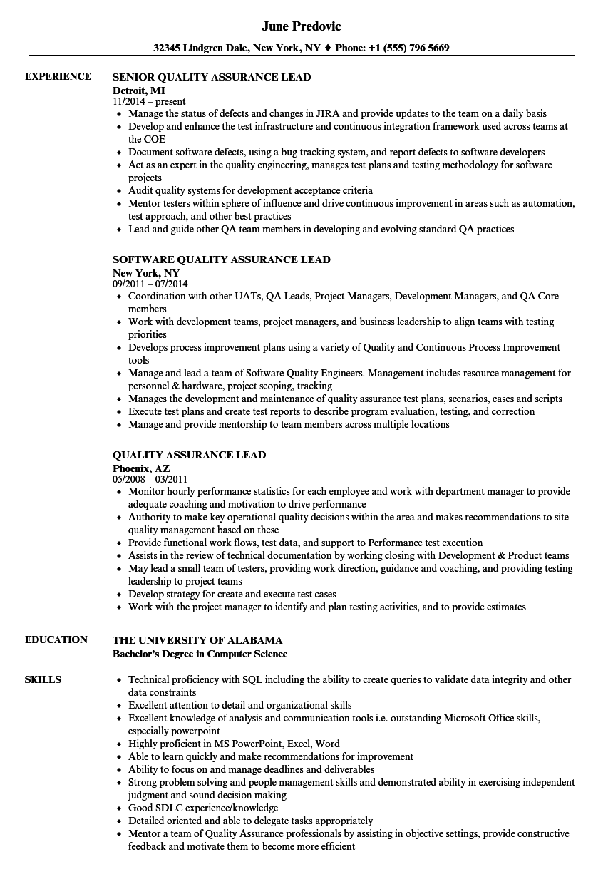 quality assurance lead resume sample