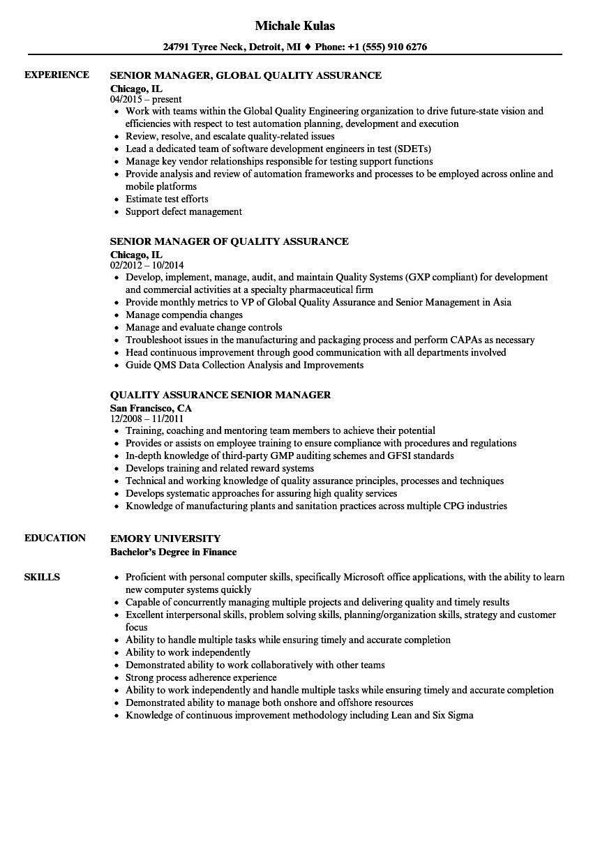 quality assurance senior manager resume samples