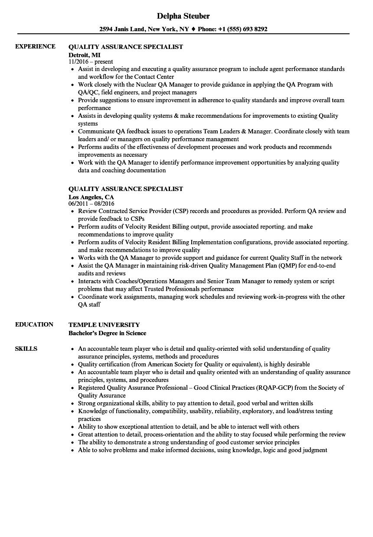 quality evaluator resume examples