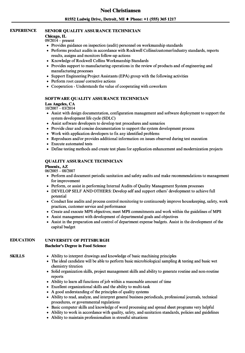 quality assurance technician description resume